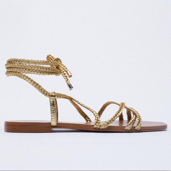 Zara gold woven sandals size 9